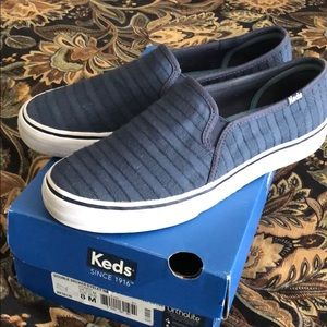 Keds Womens Double Decker Eyelet Navy Slip On
